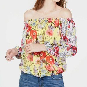 INC Floral Off the Shoulder Blouse Yellow $70 139